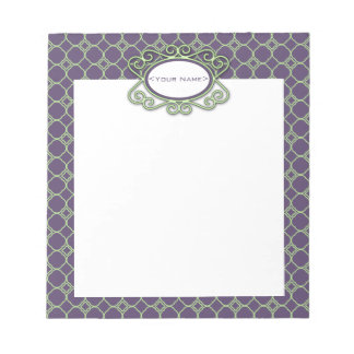 Simple Quatrefoil Pattern in Purple and Lime Green Memo Note Pads