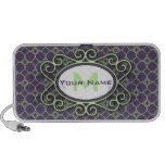 Simple Quatrefoil Pattern in Purple and Lime Green Portable Speakers