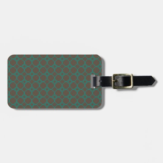 Simple Quatrefoil Pattern in Teal and Taupe Bag Tag