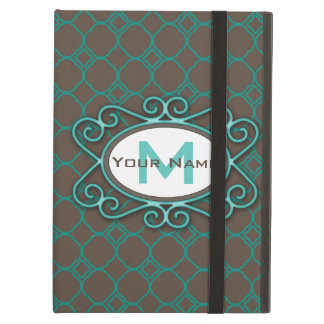 Simple Quatrefoil Pattern in Teal and Taupe Case For iPad Air