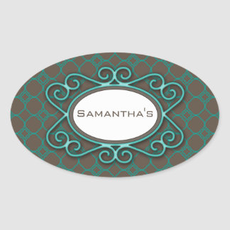 Simple Quatrefoil Pattern in Teal and Taupe Oval Sticker