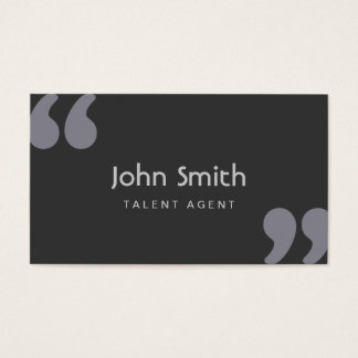Simple Quotation Marks Talent Agent Business Card
