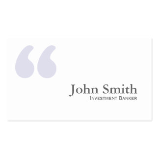 Simple Quotes Investment Banker Business Card