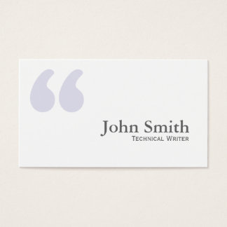 Simple Quotes Technical Writer Business Card