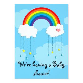 Simple rainbow baby shower 5x7 paper invitation card