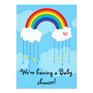 Simple rainbow baby shower personalized invites