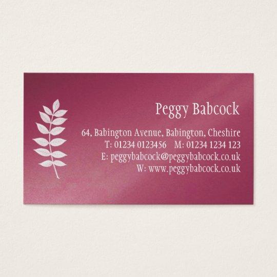Simple Raspberry Pink & Leaf Business Card