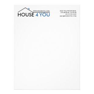 Real estate letterhead zazzle simple real estate house logo letterhead spiritdancerdesigns Images