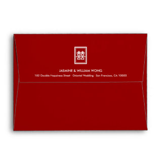 Simple Rectangle Double Happiness Chinese Wedding Envelopes
