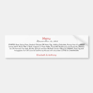 simple red and black wedding menu bumper sticker