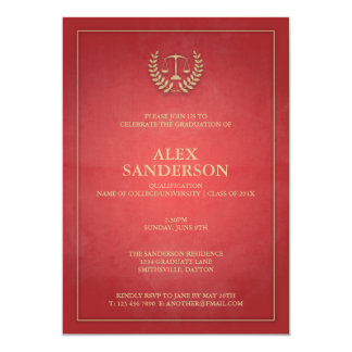 Simple Red and Gold Law School Graduation 5x7 Paper Invitation Card