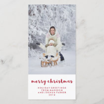 Simple Red and White Merry Christmas | Photo Holiday Card