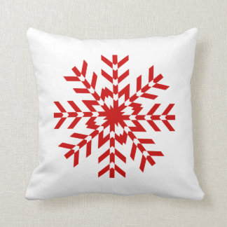 Simple Red and White Snowflake Design Throw Pillows