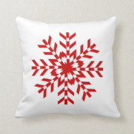 Simple Red and White Snowflake Design Throw Pillow