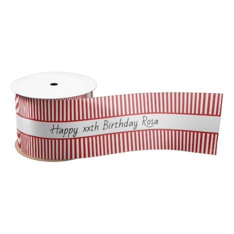 Simple Red and White Stripe Pattern Happy Birthday Satin Ribbon
