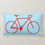 [ Thumbnail: Simple Red Bicycle Silhouette Lumbar Pillow ]