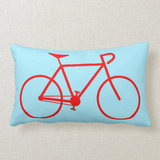 Simple Red Bicycle Silhouette Lumbar Pillow