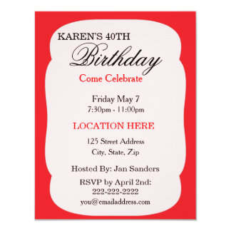 """Simple red Birthday Party Invitations 4.25"""" X 5.5"""" Invitation Card"""
