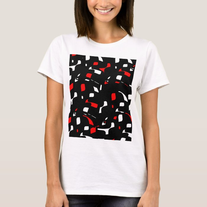 Simple red black and white design t shirt zazzle for Black white red t shirt