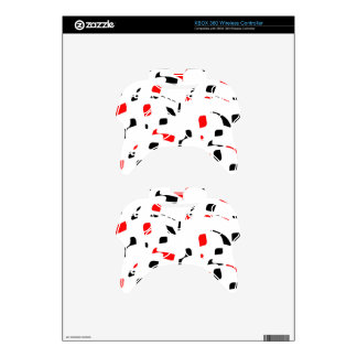 Simple red, black and white design xbox 360 controller decal