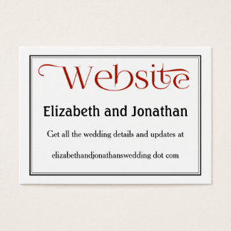 Simple Red Black & White Wedding Website Card