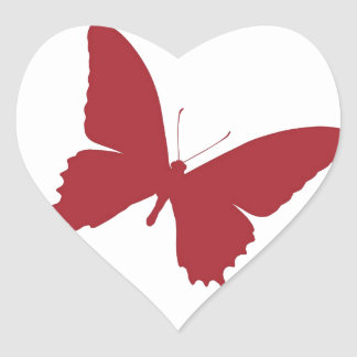 Simple red butterfly design heart sticker