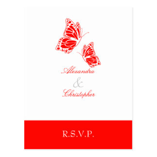 Simple Red Butterfly RSVP 2 Postcard