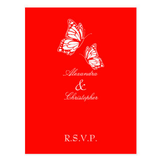 Simple Red Butterfly RSVP Postcard