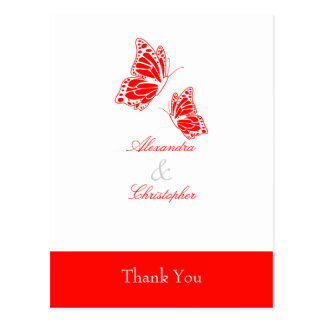 Simple Red Butterfly Thank You Postcard
