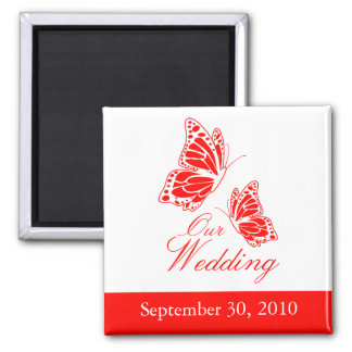 Simple Red Butterfly Wedding Announcement 2 Inch Square Magnet