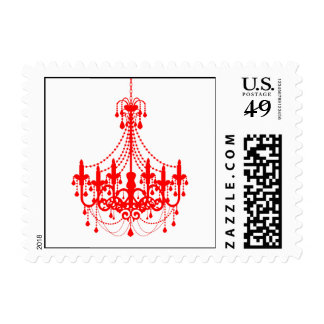 Simple Red Chandelier Invitation Postage