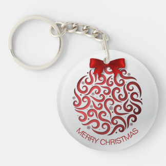 Simple Red Christmas Ornament Keychain