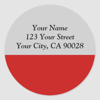 simple red color classic round sticker