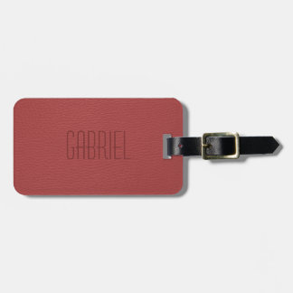Simple Red Faux Leather Look Monogram Bag Tag