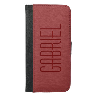 Simple Red Faux Leather Look Monogram iPhone 6/6s Plus Wallet Case