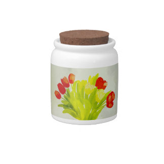 simple red flower shapes Candy Jar