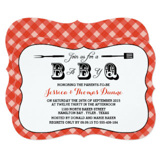 Simple Red Gingham BBQ Baby Shower Invitations