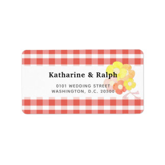 Simple Red Gingham Floral Wedding Address Label