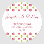 Simple red green Christmas holiday address label Round Stickers