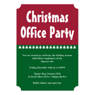 Simple Red Green Christmas Office Party Card