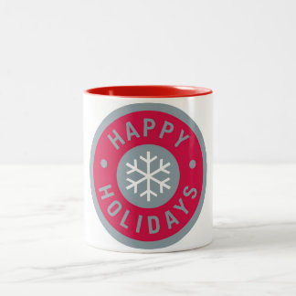Simple red Happy Holidays coffee mug