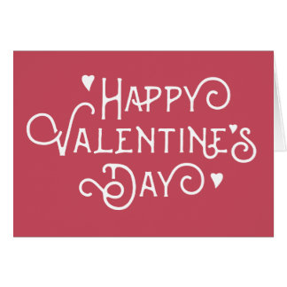 Simple Red Happy Valentine's Day Note Card
