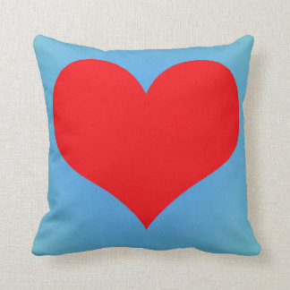 Simple Red Heart Over Blue Backdrop Throw Pillow