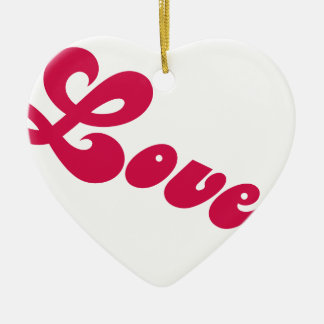 Simple Red Love Heart Ceramic Ornament