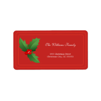 Simple Red Merry Christmas Address Label
