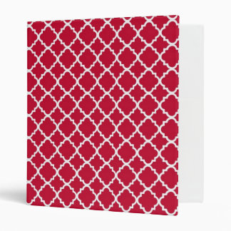 Simple Red Quatrefoil Christmas Holiday Pattern Binder