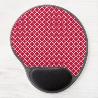Simple Red Quatrefoil Christmas Holiday Pattern Gel Mouse Pad
