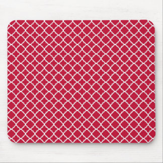 Simple Red Quatrefoil Christmas Holiday Pattern Mouse Pad