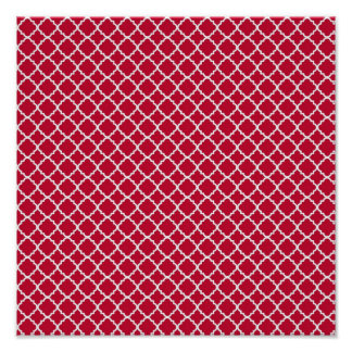 Simple Red Quatrefoil Christmas Holiday Pattern Posters