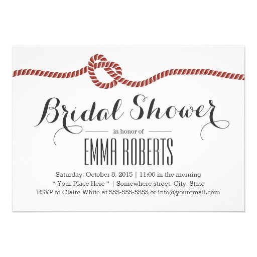 Simple Red Rope Knot Bridal Shower Invitations